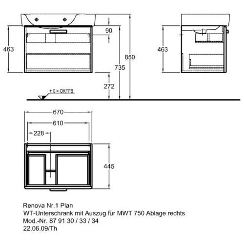 Keramag Renova Nr. 1 Plan szekrény aszimetrikus mosdóhoz magasfényű rubin (68x46,3x44,5 cm ...