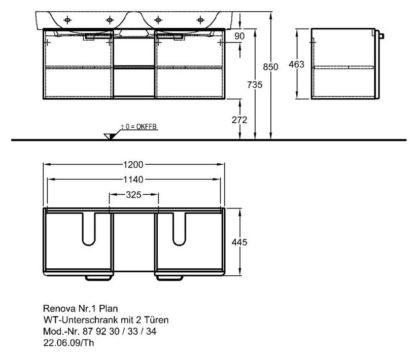 Keramag Renova Nr. 1 Plan szekrény dupla mosdó alá magasfényű rubin (120x46,3x44,5 cm, 879234000 ...
