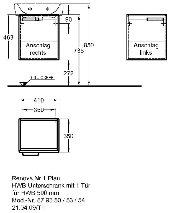 Keramag Renova Nr. 1 Plan szekrény kézmosó alá magasfényű rubin (41x46,3x34 cm, 879354000 ...