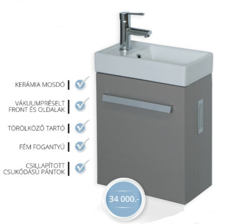 Tboss Modena 40 Lux fürdőszobabútor, kézmosó szekrénnyel (sötét ...